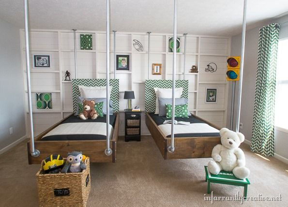 Green and black Industrial room by @Beckie Farrant {infarrantly creative} ...love those hanging beds!