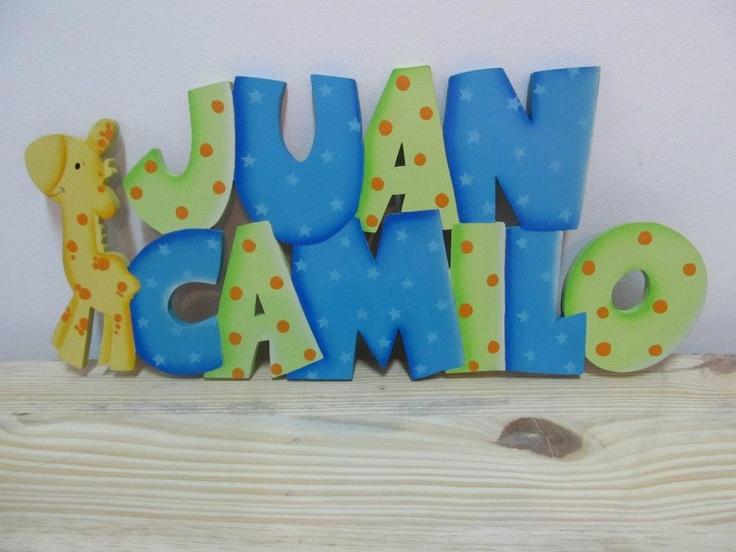 Nombres hechos a pedido en MDF de 10mm, decorados y con acabado en barniz mate.  http://www.facebook.com/orokids  $35