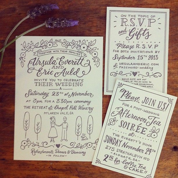 Exceptional Casual Hand Lettered Wedding Invitations With Drawings.