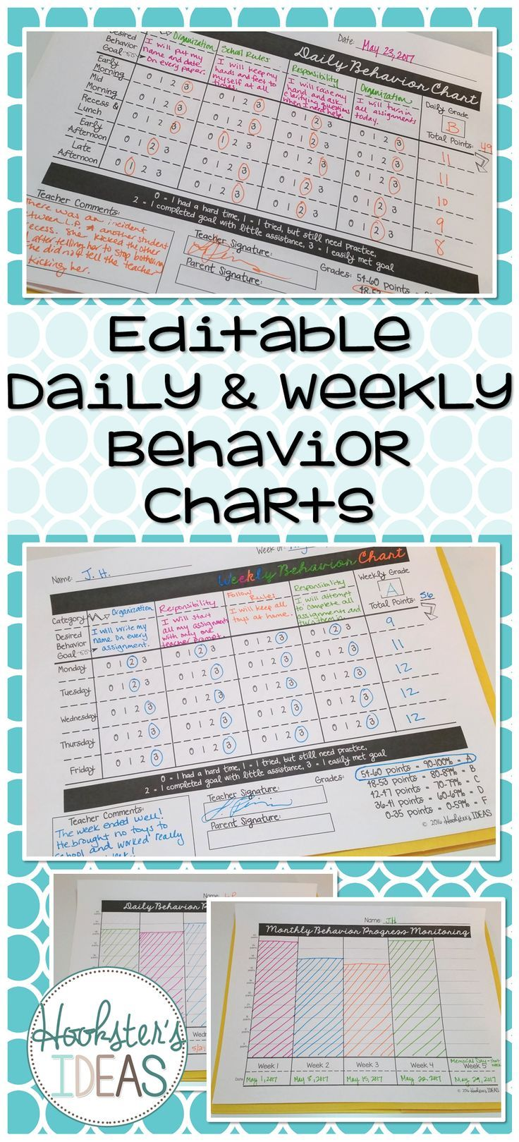 80% of all students do well with your basic classroom management techniques.  20% of students need something more or different.  This is something that I have used to target those students with more severe behavioral needs.  These editable charts are available for daily (more severe) or weekly ( less severe) and include weekly and monthly progress monitoring.  These are helpful in identifying trends and recording data for RTI.