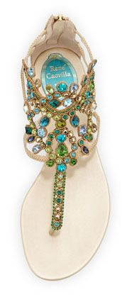 Rene Caovilla | Strass Crystal Embellished Lizard Sandals | cynthia reccord