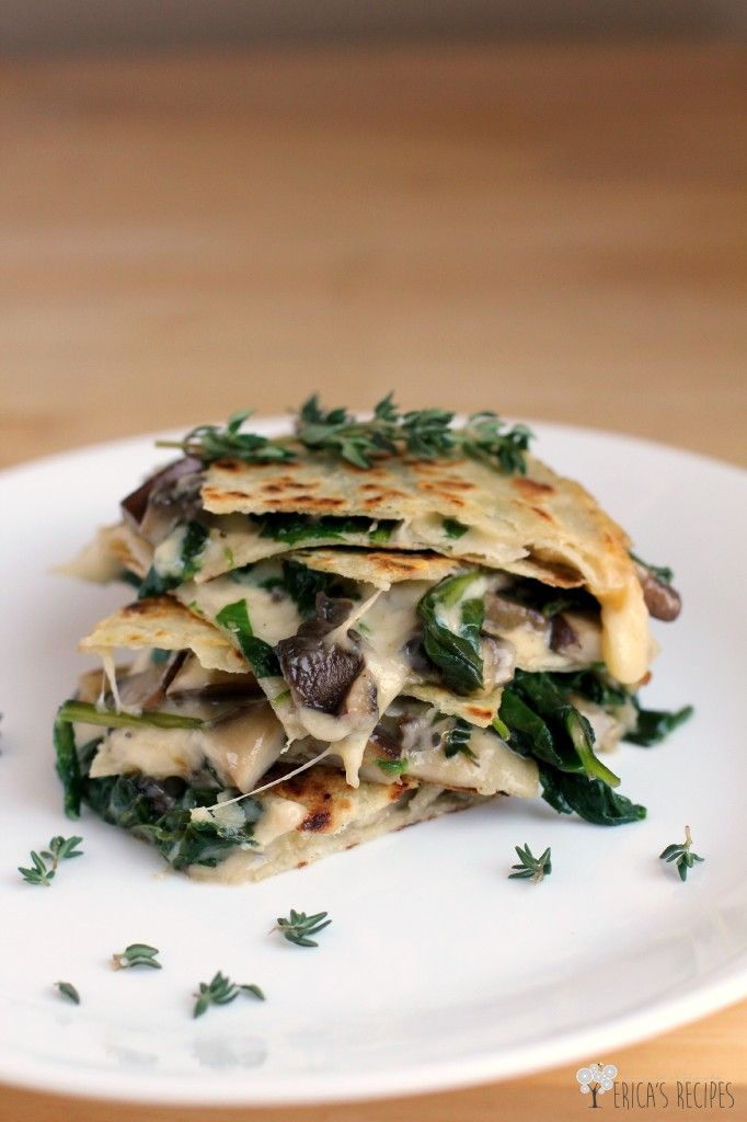 Spinach, Mushroom, and Thyme Quesadillas with Smoked Gouda #vegetarian #recipe
