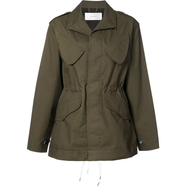 Julien David military jacket (26.397.705 IDR) ❤ liked on Polyvore featuring outerwear, jackets, green, brown military jacket, field jackets, army green jackets, military jacket and julien david
