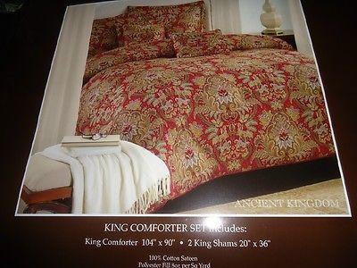 Raymond Waites Ancient Kingdom Red, Purple Gold 3pc King Comforter ...