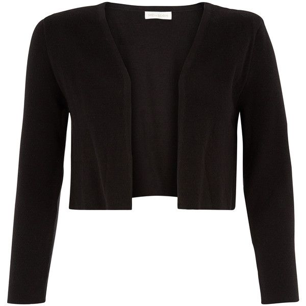 Monsoon Serena Structured Shrug (295 PLN) ❤ liked on Polyvore featuring outerwear, 3/4 sleeve shrug, cropped shrug cardigan, cropped cardigan shrug, cropped shrug and black shrug cardigan