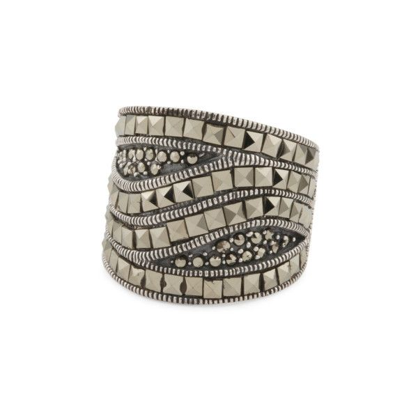 Sterling Silver Marcasite Square Dome Ring ($25) ❤ liked on Polyvore featuring jewelry, rings, sterling silver dome ring, marcasite rings, sterling silver marcasite ring, marcasite jewellery and sterling silver rings