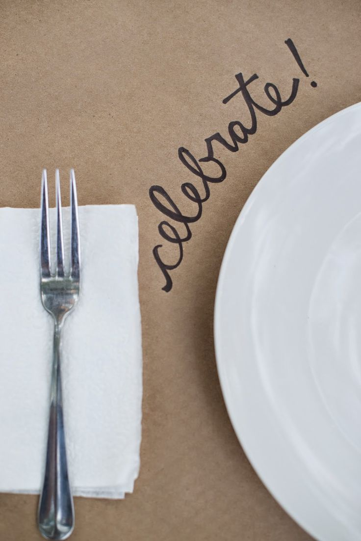 Use brown craft paper and sharpies to write fun phrases on the table!  -- Fall Backyard Entertaining: Birthday Party