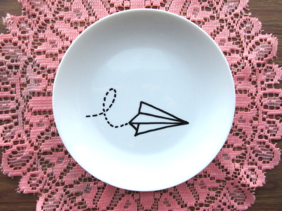 Paper Plane Hand Painted Decorative Wall Plate by lloydloves, $12.00
