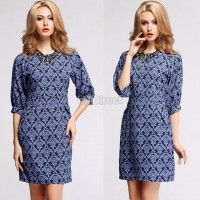 New Fashion Women's Half Sleeve Blue Floral Print Elegant Casual Work Wear Dress