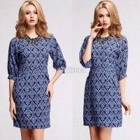 New Fashion Women's Half Sleeve Blue Floral Print Elegant Casual Work Wear Dress
