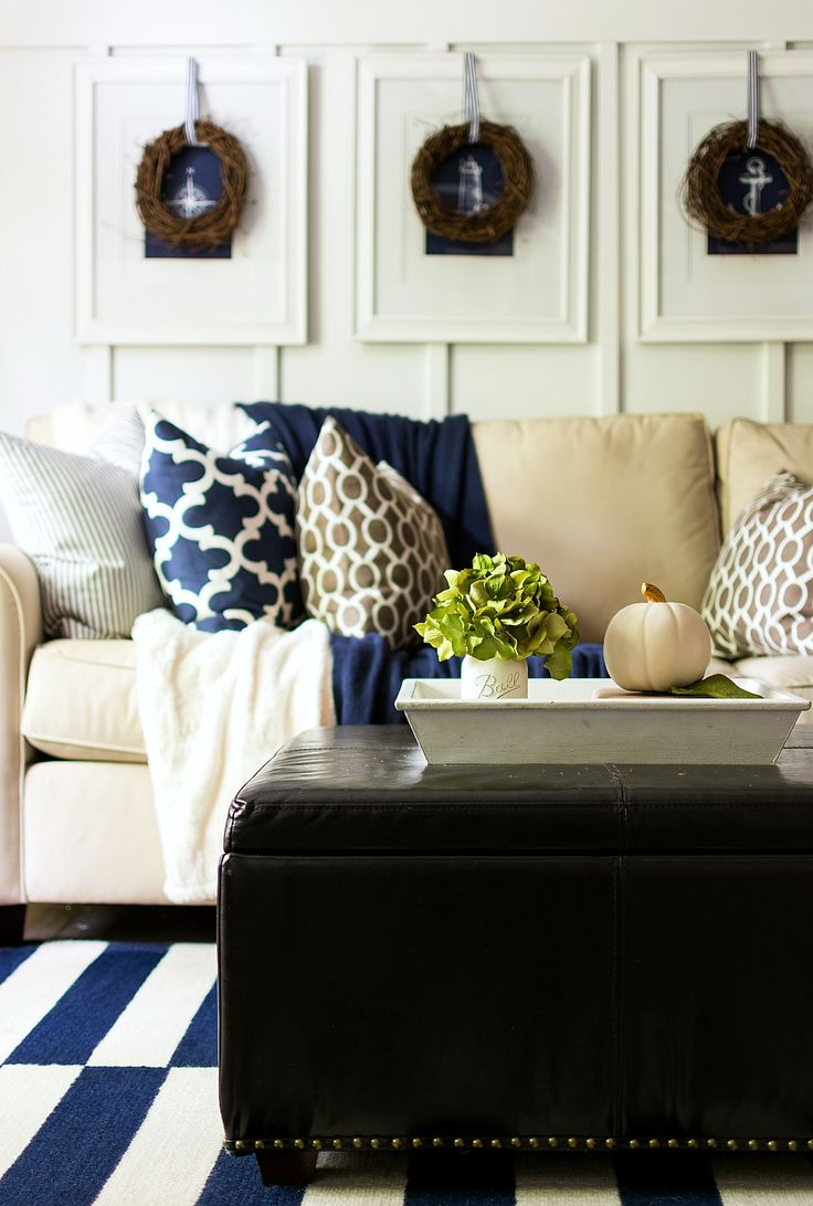 Dark blue and brown living room - Fall Decorating Using Navy And Brown And White Board And Batten Living Room Decorated For