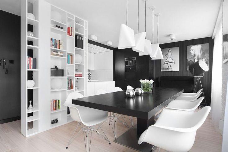Konyha és étkező fekete-fehérben - elegáns közösségi tér monokróm színvilággal