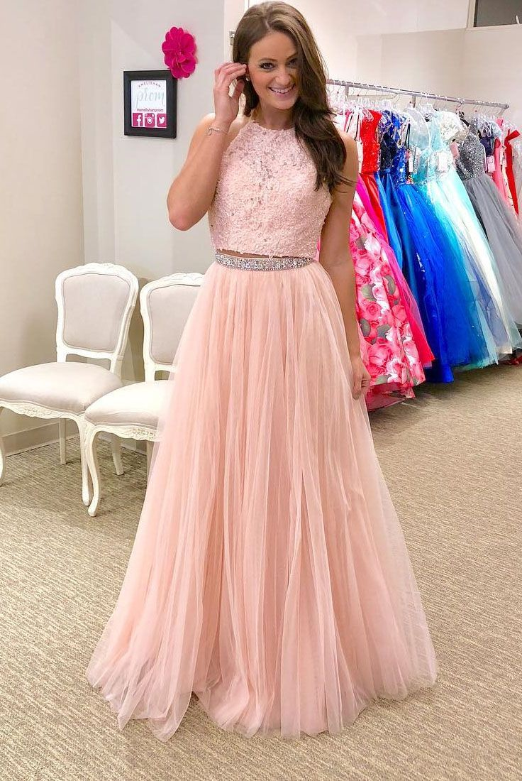 Gorgeous two piece pink long prom dress party red fashion goods
