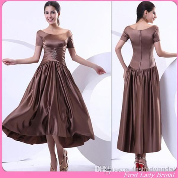 this is interesting Wholesale Bridesmaid Gown Chocolate - Buy Retro Bridesmaid Gown Chocolate Stretch Satin Short Sleeves A-line Tea Length Evening Dress, $78.25 | DHgate