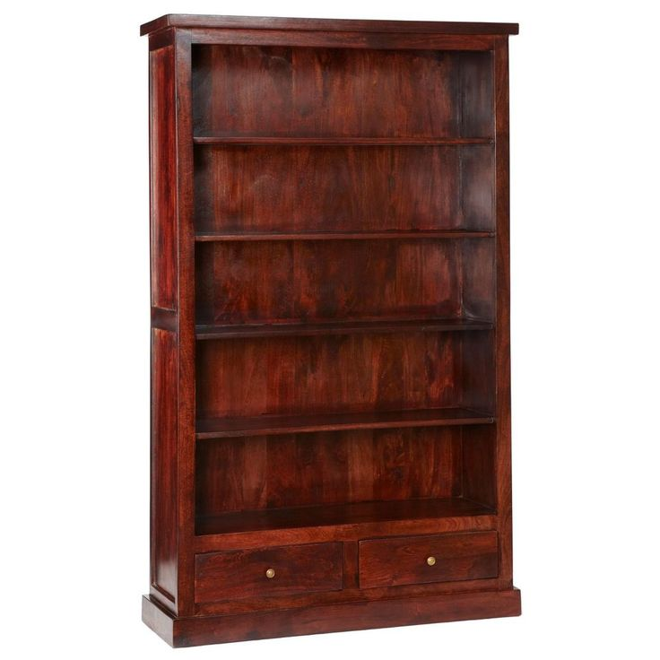 Wooden Bookcase 5 Shelves 2 Drawer Brown Mahogany Colour  Living Room Furniture