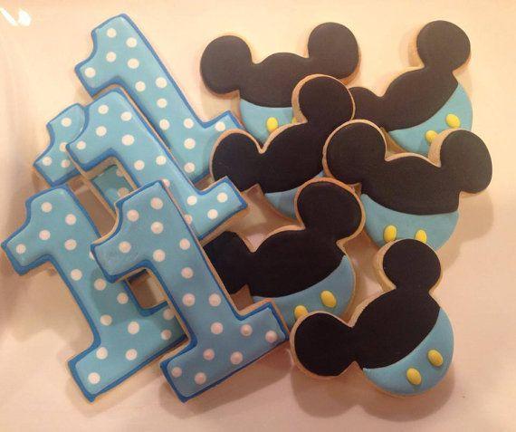 Baby Mickey First Birthday Sugar Cookies 1 dozen by LaPetiteCookie, $33.00