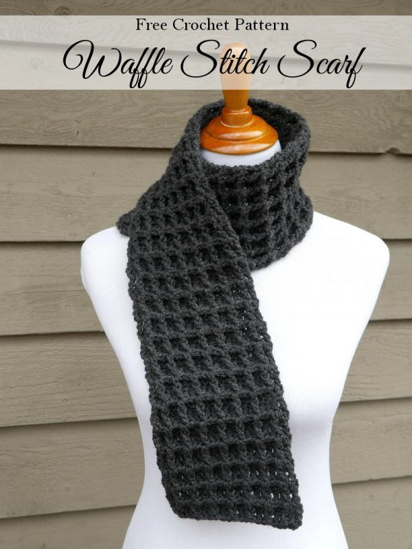 FREE Crochet Pattern: Waffle Stitch Scarf | Need a quick and easy gift idea? Whip up this cozy scarf in the pretty crochet waffle stitch.