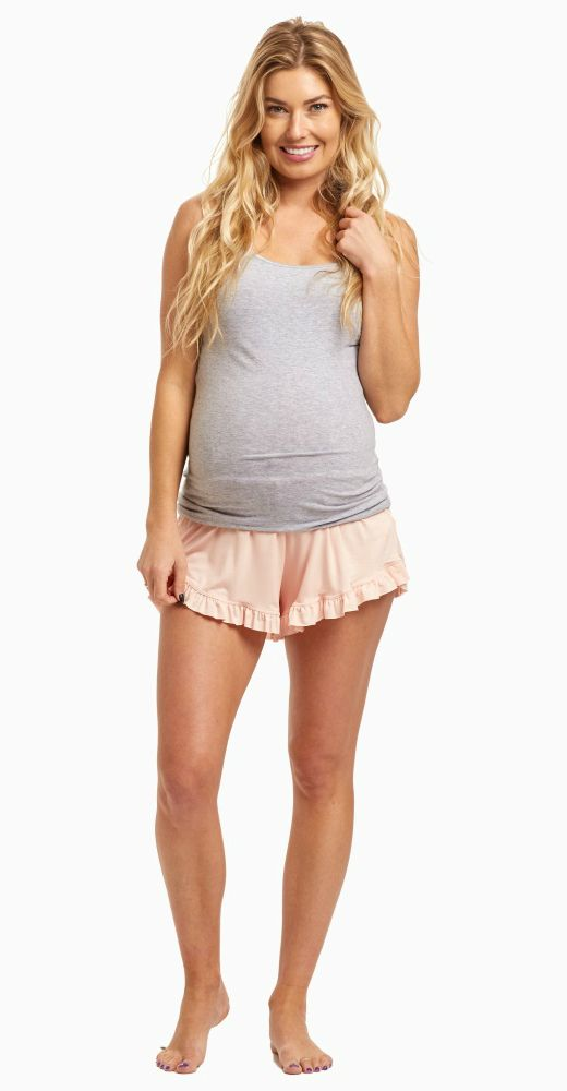 These are the softest and most comfortable pajama shorts you will ever put on. With a pretty ruffled trim you will be sure to have something fun and cozy to sleep in every night. Wear these with a basic cami or tank for a complete bedtime outfit.  Perfect for women's and maternity.