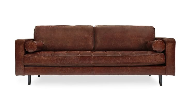 Freeman Sofa, Distressed Leather - Modern, mid-century design with premium distressed leather. #volodesign