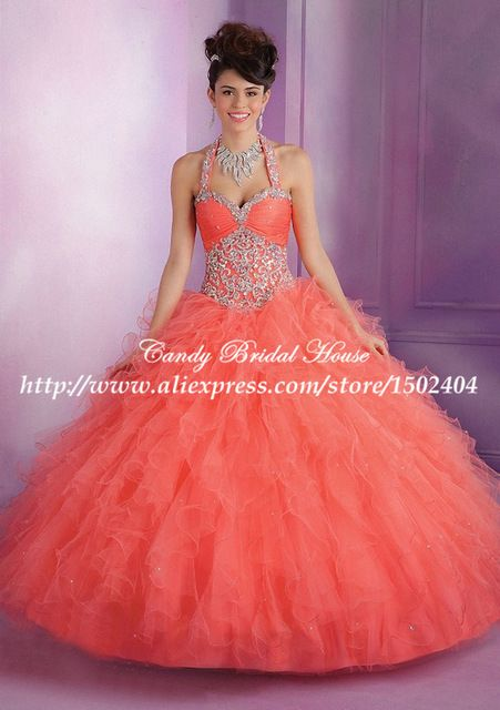 Desmontable Halter Coral Convertible Quinceanera 2015 Sweet 16 vestidos del partido con cristales MQ085 Vestido de 15 años de Debutante