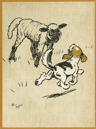 The Playful Lamb, from Cecil Aldin's 'Field Babies', London: Humphrey Milford, Oxford University Press, [1919?], Cecil Aldin
