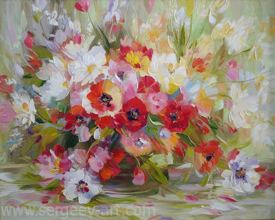 живопись маслом цветы - Google Search