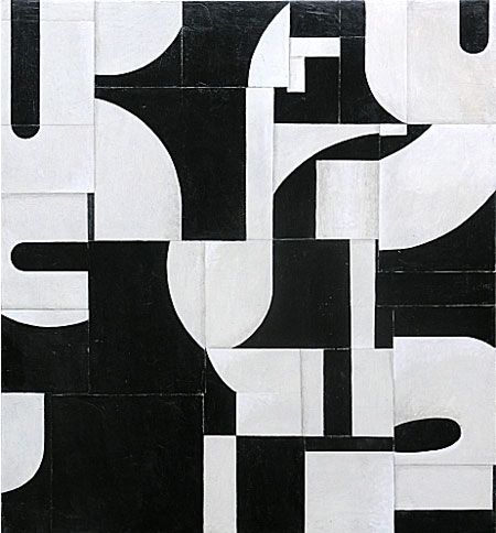 Cecil Touchon (b.1956) Post Dogmatist Painting - collage and acrylic on canvas - 36x36 inches - black and white, typography, abstract