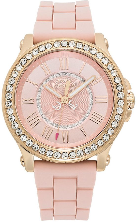 Juicy Couture Watch, Women's Pedigree Dusty Rose Silicone Strap