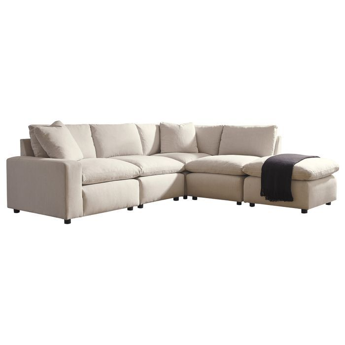 Magnificent Ashley Salerno Cream 4 Piece Sectional With Ottoman Pabps2019 Chair Design Images Pabps2019Com