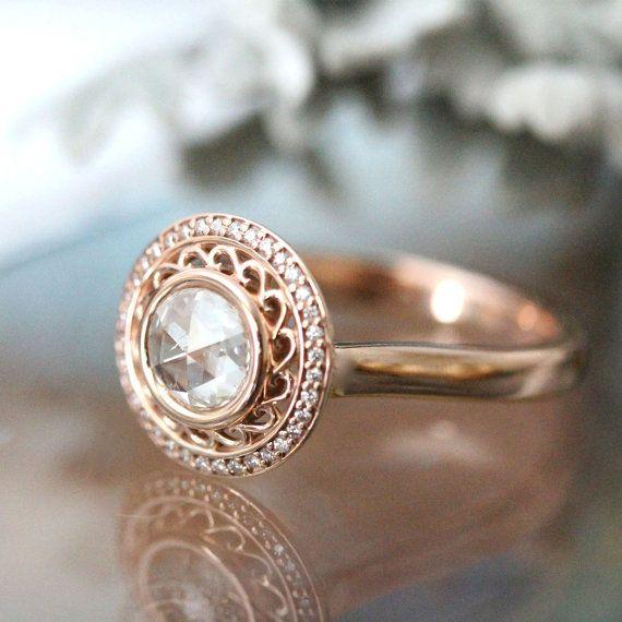 Rose Cut White Diamond 14K Rose Gold Ring, Diamond Ring, Engagement Ring, Gemstone Ring, Stacking Ring, Anniversary Ring - Made To Order Good.