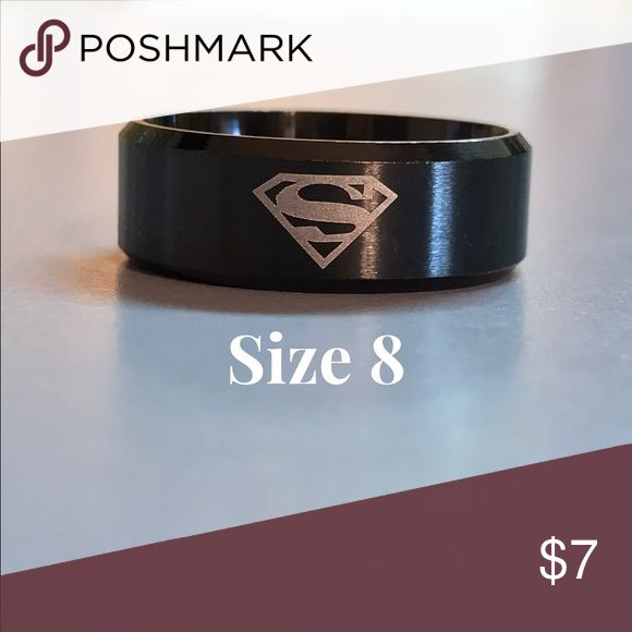 Men's Stainless Steel Superman Ring Men's Black Titanium Steel wedding band. Brand New without tags. Size 8 Accessories Jewelry