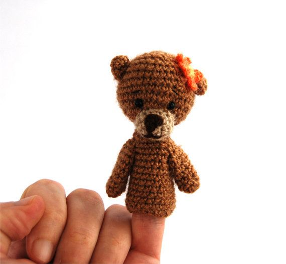 $21.72  girl bear puppet, #educative #soft #toy, #crochet #puppet #animal #doll, #amigurumi #toy for #toddlers, to #develop #fine #motor #skills, #learning #toy