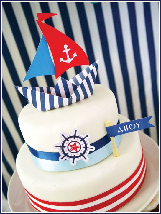 Nautical themed cake from Bird's Party