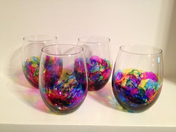17 best images about art project ideas alcohol ink on for Painted stemless wine glasses