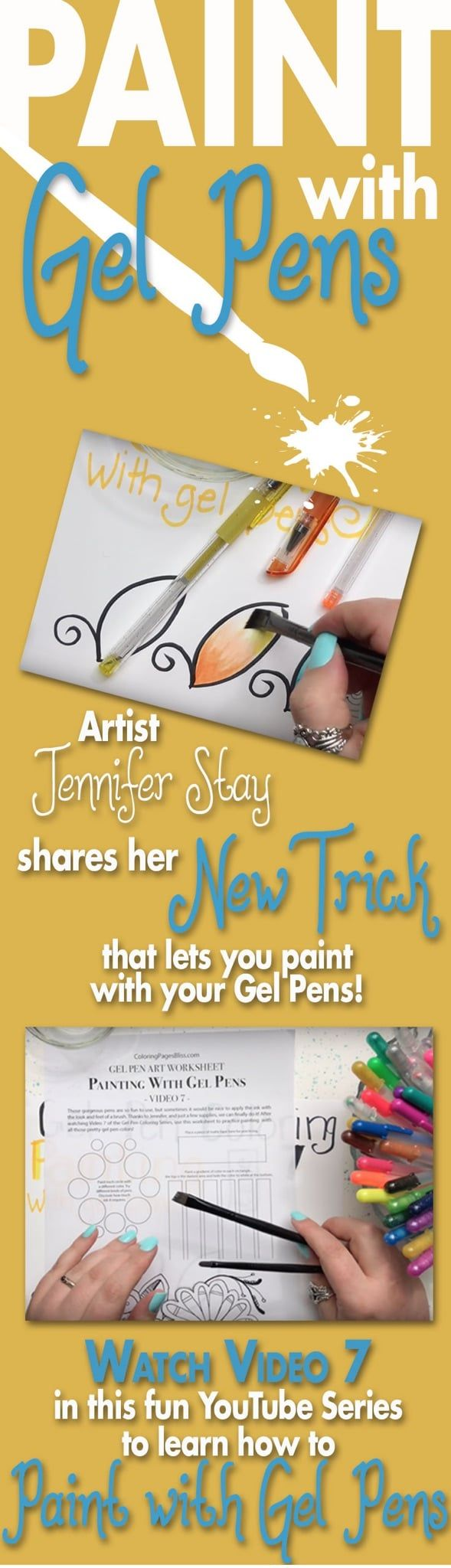 How to Paint with Gel Pens. Did you know that you can use your gel pens to paint? Artist Jennifer Stay can show you her technique to use the beautiful ink as paint. This is a free coloring tutorial that will inspire you to use your paint brushes and gel pens in new ways you hadn't considered before!