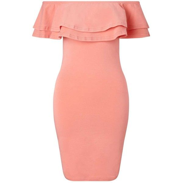 Miss Selfridge Peach Ruffle Bardot Bodycon ($12) ❤ liked on Polyvore featuring dresses, peach, bodycon dress, off the shoulder mini dress, off-the-shoulder ruffle dresses, bodycon mini dress and red mini dress