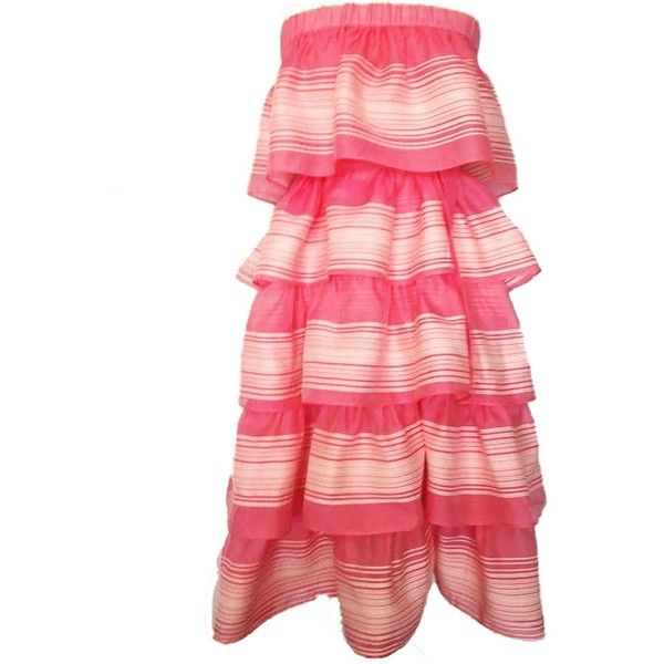 PLAKINGER - Pink Tiered Stripe Maxi Dress ($490) ❤ liked on Polyvore featuring dresses, striped maxi skirts, tiered maxi dress, red maxi skirt, stripe maxi skirt and pink maxi dress