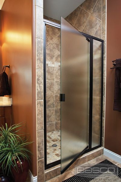 Love the shower door-frosted glass less likely to show streaks  or soap residue