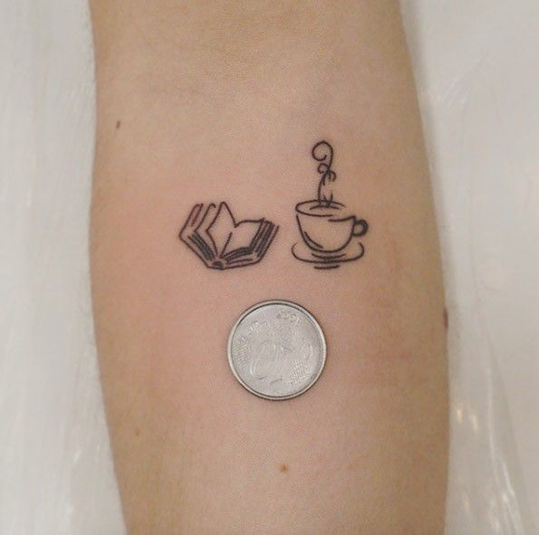 Small size forearm tattoo of open book and steaming tea cup