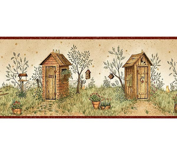 Interior Place   Burgundy Garden Outhouses Wallpaper Border, $20.39  (http://www