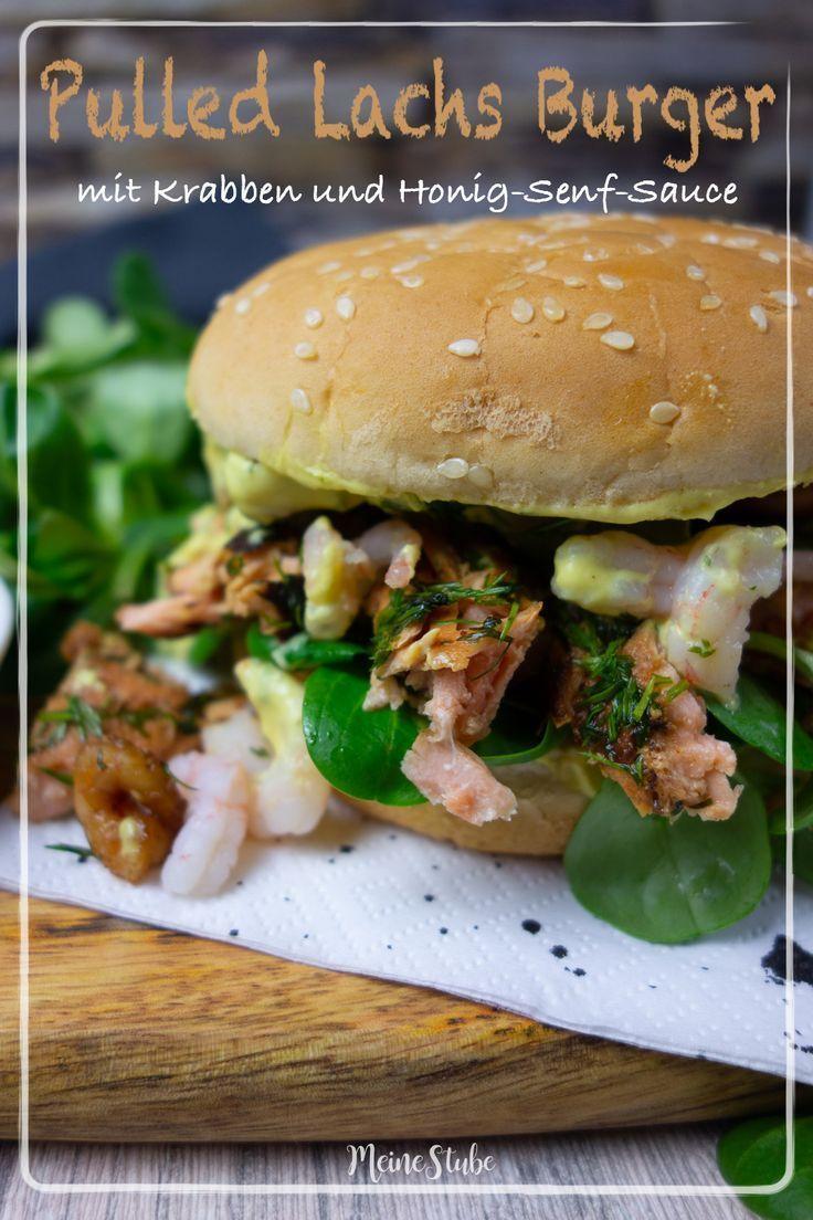 Pulled Lachs Burger mit leckerer Honig Senf Sauce und Krabben