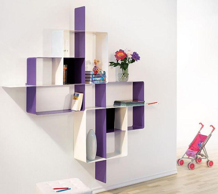 Innovative Wall Shelves: Mondrian Modern Pezzani Wall Shelving Unit In Purple