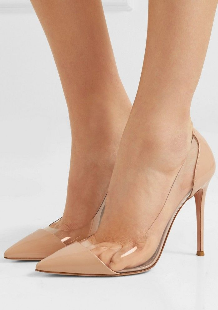 84619ca411 GIANVITO ROSSI Plexi 105 patent-leather and PVC pumps | Fashion | Shoes,  Heels, Pump shoes