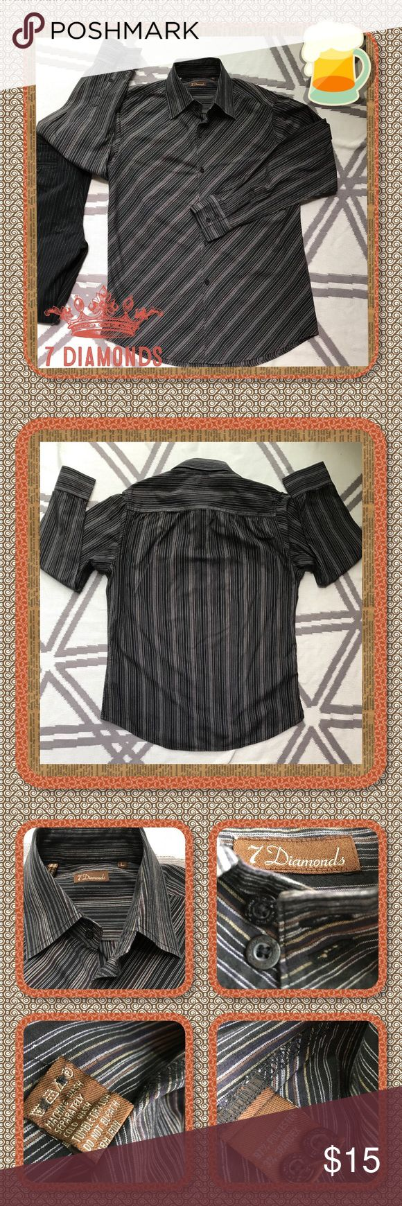 🎰 7 Diamonds Shirt 🎰 Men's black long sleeved casual shirt. Beautifully constructed shirt with a neutral colored diagonal striped pattern on the front side, vertical & horizontal on the back. Stripes ate brown, gold & gray & fabric has spandex for a little stretch. EUC without any rips or stains. Extra buttons included. See photos for measurements, fabric content & care. 7 Diamonds Shirts Casual Button Down Shirts
