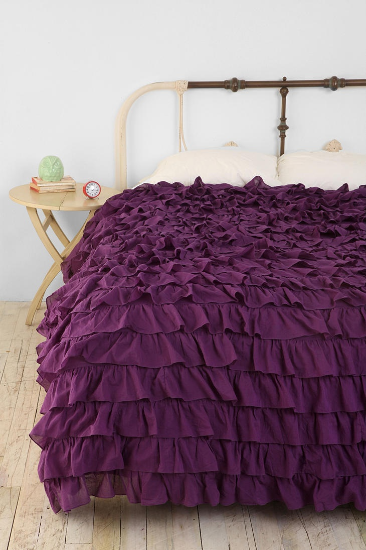 Pretty!Beds Covers, Urban Outfitters, Purple, Bedspreads, Beds Spreads, Duvet Covers, Girls Room, Bedrooms, Ruffles Duvet
