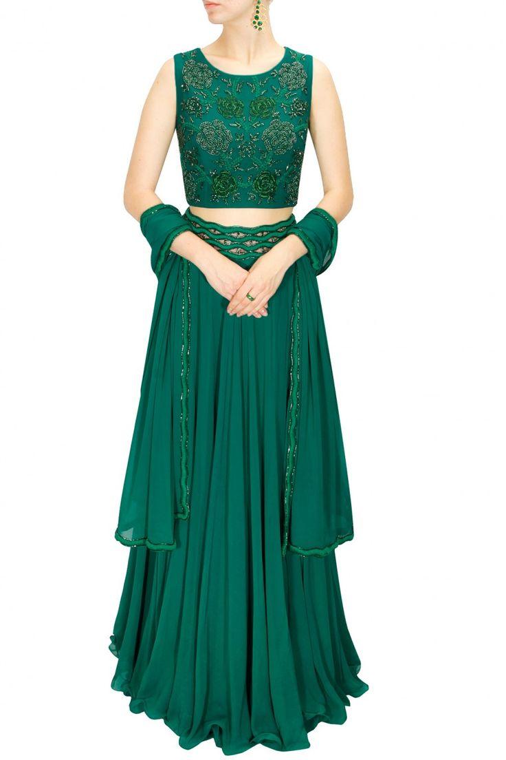 DRAPE 'N' DRAMA : Green thread and dabka embroidered lehenga set by J by Jannat. ....beautiful detailing