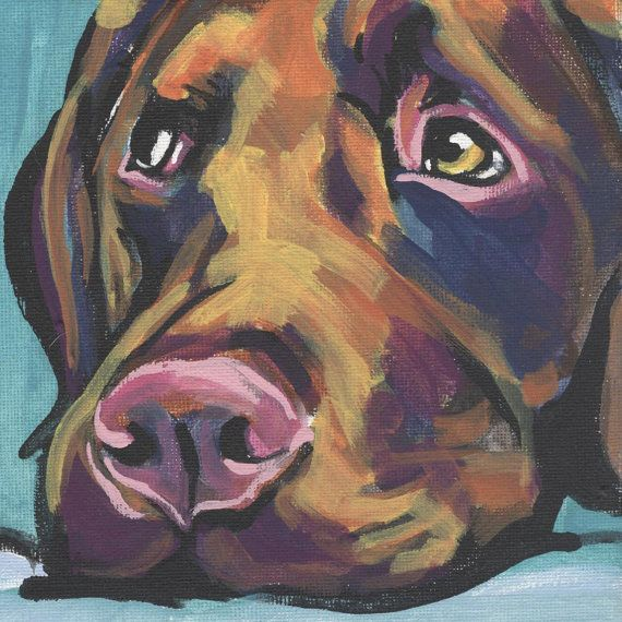 Labrador Retriever art print modern Dog art print chocolate lab pop dog art bright colors 8x8 inch