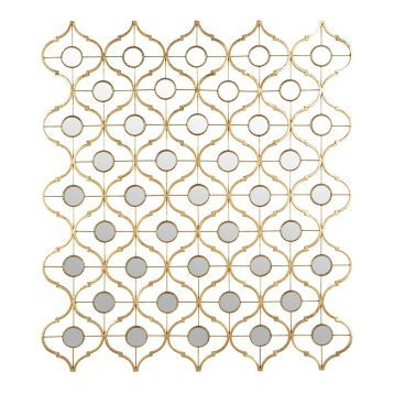 Mirrored Gold Quatrefoil Metal Plaque | Kirklands