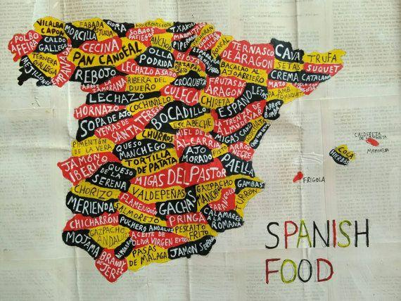 SPANJE kaart, SPAANSE gerechten, originele kunstwerk, acrylverf, 40 cm x 50 cm, Spaanse gerechten