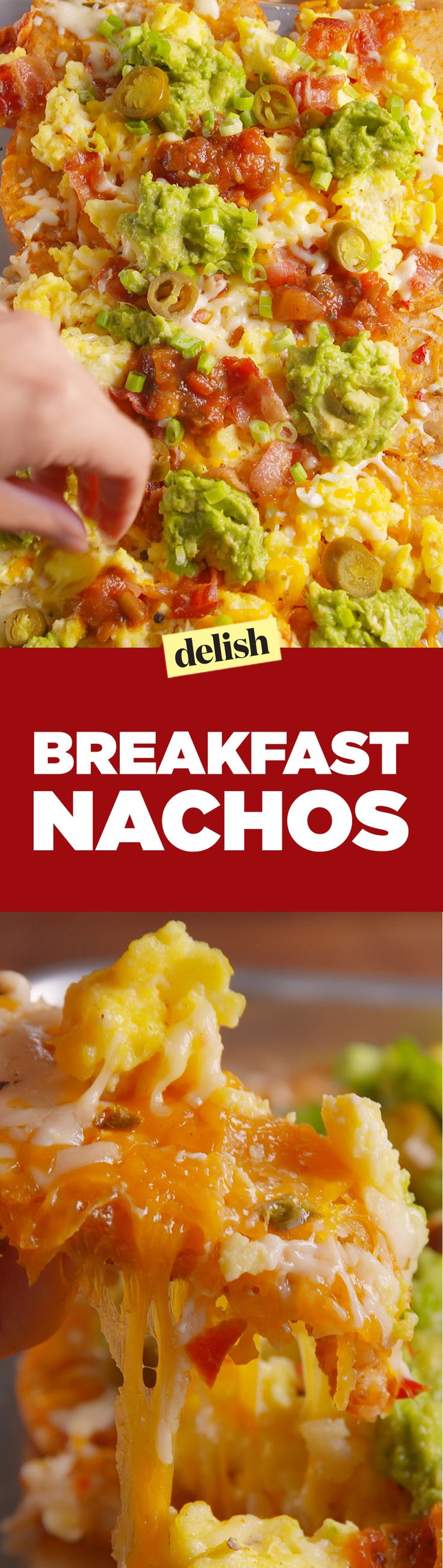 Breakfast nachos use hash browns instead of chips, and it's freaking awesome. Get the recipe on Delish.com.